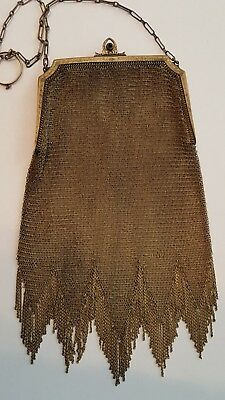 antique Whiting & Davis metal mesh purse signed gold tone sapphire closure fring