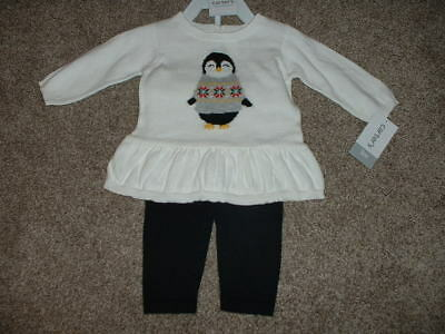 4e8af11a4 Carters Baby Girls Holiday Penguin Sweater Outfit Set Size 3 6 12 Months  mos NWT