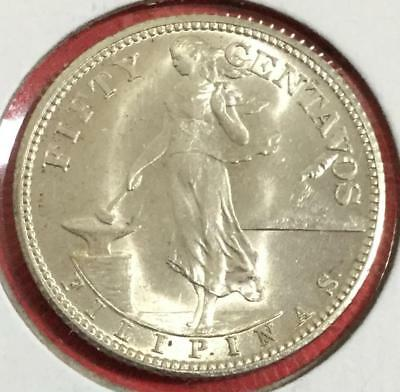 1944S Philippines FIFTY CENTAVOS SILVER Coin! Uncirculated!