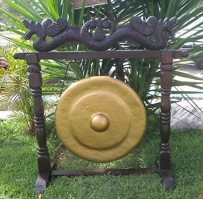 Balinese Home Decor Hand Made & Carve Gong Golden Dragon Top Metal Middle