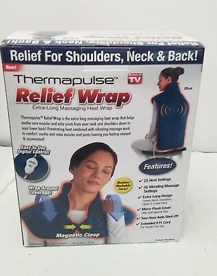 Thermapulse Relief Wrap Full Back Heating Pad Massaging Neck Shoulder Pain Blue