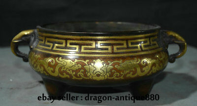 """10.2"""" Marked Old Chinese Red Copper Gilt Palace Flower 2 Dragon Incense Burners"""