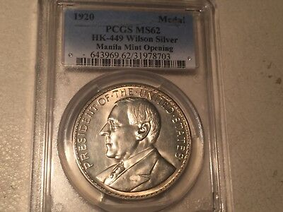 Philippines Wilson Silver Medal 1920 PCGS MS 62 HK-449 So Called Dollar