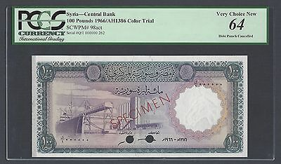 Syria Syrie 100 lira 1966 P98act Color Trial Uncirculated