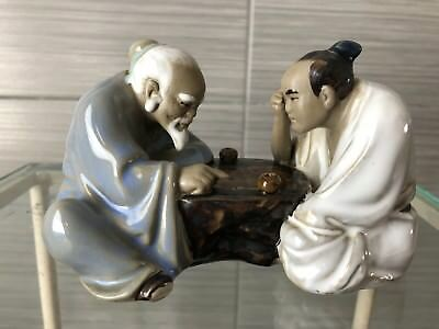 Vintage Chinese Porcelain Piece With Two Chinese Scholars Reading A Scroll