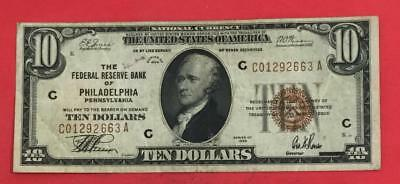 1929 $10 Brown Seal National Currency Philadelphia X663 FINE! Old US Currency