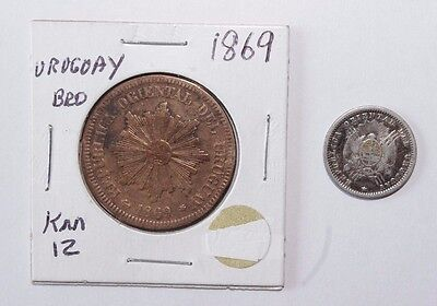 1877 and 1869 10 & 2 Centesimos Uruguay a Lot of 2 High Value Vintage Coins