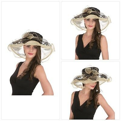 Womens Kentucky Derby Sun Hat Church Cocktail Party Wedding Dress Two Tone Color