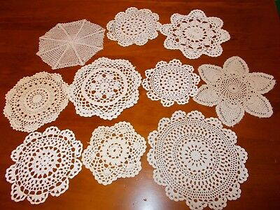 VINTAGE~BULK LOT OF SMALL CROCHETED DOILIES x 10~DOILY~MOTIFS~ECRU~WHITE~MIXED