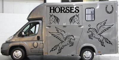 Horse Box/Van/Lorry Set 2 # Vinyl Decals/Stickers # Various Colours and Sizes