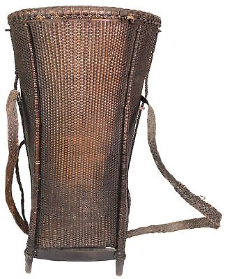 Vintage Vietnamese Basket with Backpack Straps - Tall