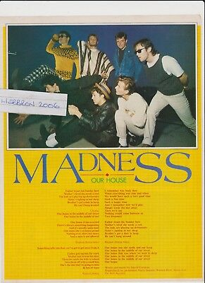 Madness Our House Original 1982 1 Page Magazine Lyric Feature.