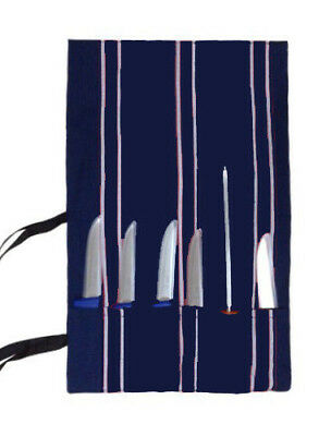 Chef Knife Roll Tie Bag Vinyl / PolyCotton Carry Case Wallet 6-Pocket 45 x 72 cm