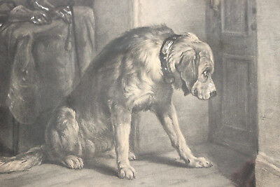 A Superb c19th Cornish Charcoal Drawing, signed D. OPIE, A Dog Awaits His Master