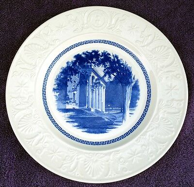 Wedgwood Amherst College Blue CONVERSE LIBRARY Plate   EXCELLENT