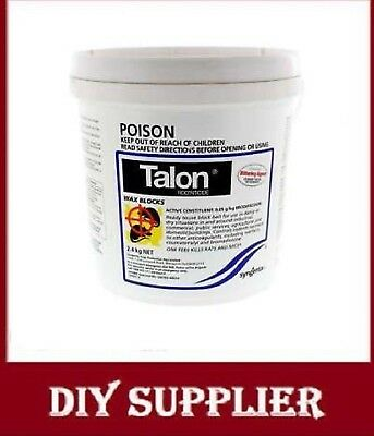 Talon Rodenticide Waxblocks Brodifacoum One Feed Kills Rats and Mice 2.4kg