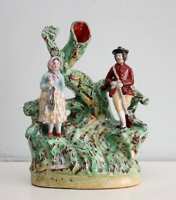 A Rare c19th Antique Victorian Staffordshire Spill Vase, Game Keeper & His Wife