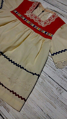 Vintage 1970's Cream/Red Toddler Girl Embroidered/Cotton/Lace Dress. Age 3.