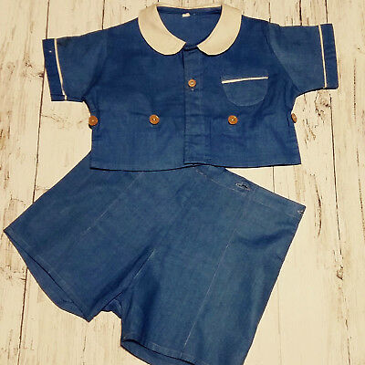 Vintage 1950's Blue/White Baby Boy's two Piece Rompersuit. Age 18 mths.
