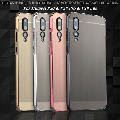For Huawei P20/ Pro/ Lite, Shockproof Brushed PC Full Cover Aluminum Frame Case