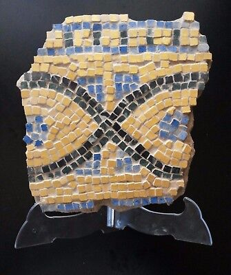 VERY NICE TILES MOSAIC GOLDEN PANEL  ROMAN FRAGMENT . Restored. Museum