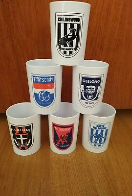 Vintage 1960s X 6 vfl afl football plastic cups kristaware collingwood geelong