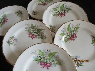 Vintage pretty Lily of the Valley Regency English Bone china side plates x 6