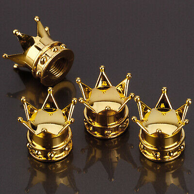 4 Pcs Bike Car Motorbike Wheel Tyre Air Valve Dust Caps Covers Crown Golden