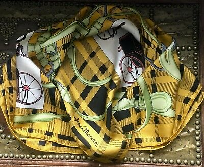 Vintage JEAN MACORE Equestrian/Carriages, Harnesses & Bits Print Silk Scarf