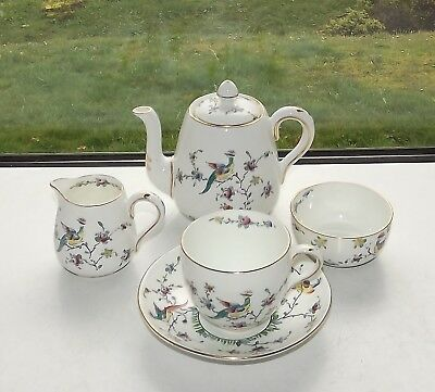Crown Staffordshire Exoctic Birds Tea For One Teapot Cup Saucer Milk Sugar F5425