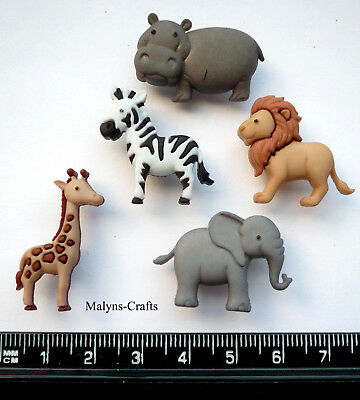 WILD THINGS Craft Buttons 1ST CLASS POST Elephant Animal Baby Jungle Zoo Cuties