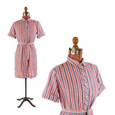 Vintage 50s Red White + Blue Cotton Pin Stripe Belted Shift Summer Dress S