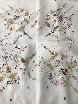 Vintage hand embroidered tablecloth stunning raised embroidery
