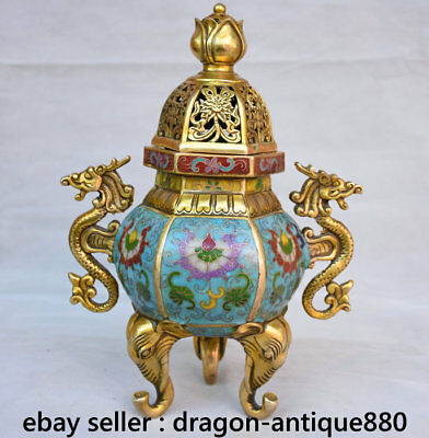 """11.2"""" Marked Old Chinese Cloisonne Copper Dragon Elephant Leg Incense Burners"""