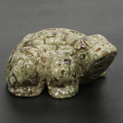 "2.7"" Natural Green Rainforest Jasper Carved Frog Gemstone Statue Home Decor #Q11"