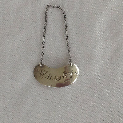 Silver WHISKY Decanter Label, Mappin & Webb Birmingham 1910