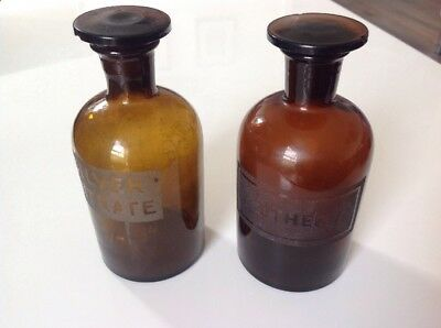 Antique Brown Glass Apothecary Bottles, Ether And Silver Nitrate.