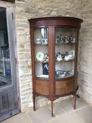 Large Antique Edwardian Glass Fronted Inlaid Mahogany Display Cabinet