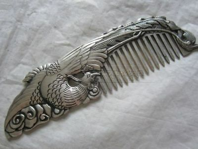 chinese Old copper plating silver Hand-carved Usable Comb Phoenix