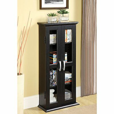 Media Storage Cabinet Wood Glass Book Display Case Curio Closet Trophy  Center