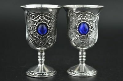 China old copper plating silver Inlay Blue Bead Noble Pair Wine Cup