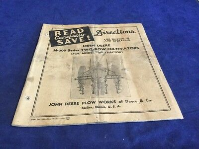 Vintage John Deere H-300 Series Two-Row Cultivator Directions For Setting Up