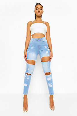 Fashion Womens Ladies Celeb Stretch Ripped Skinny High Waist Denim Pants Jeans