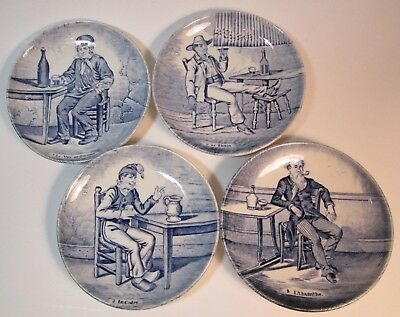 Delft by Bosch set of 4 small plates tavern scene: Wine, Rum, Cidre, Abstinence
