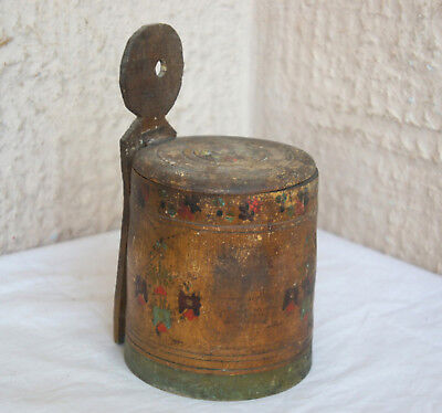 Antique primitive Rustic Wooden Treen Hanging Wall Box In Original Early Paint