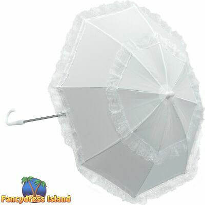 VICTORIAN LONG HANDLE PARASOL WHITE womens ladies fancy dress costume accessory