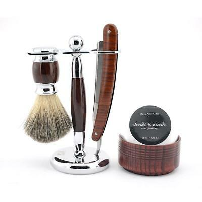 ZY Men Straight Shaving Razor Set Folding Knife + Razor Stand + Badger Hair Bear