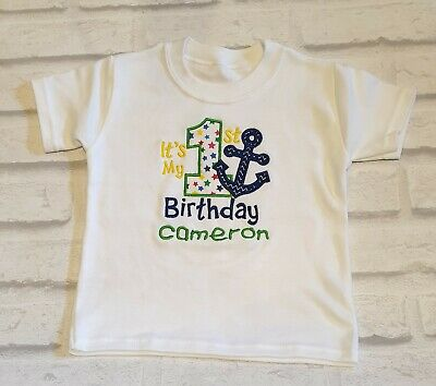 My 1st birthday T-SHIRT ANY NAME EMBROIDERED BABY first gift boys girls ANCHOR