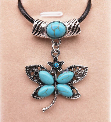 Fashion Jewelry Antique Silver Turquoise Pendant  Rhinestone Necklace Gift L02