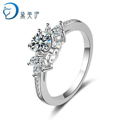 Women 925 Sterling Silver Crystal Rings For Women Fashion Wedding Jewelry
